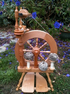 Ashford Traveler.  My first wheel has given me many hours of pleasure and is easy to use with kids.