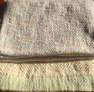 Cotton flake baby blankets.  White warp.