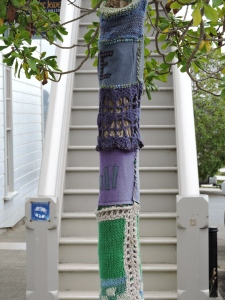 Not sure if the trees were part of the crayon box or separate work. Knit yarn bombing rather than felting