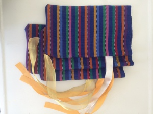 Woven placemats from Mayan Hands, repurposed as gift bags