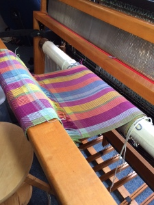 Mayan Hands vest on the loom